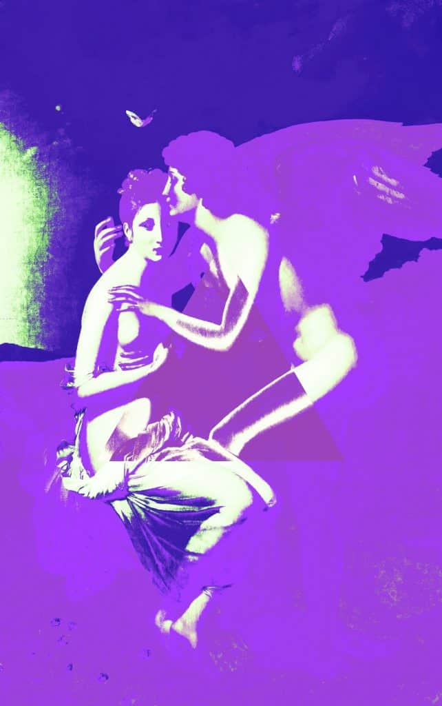 A painting of Cupid and Psyche embracing in deep purples and whites.