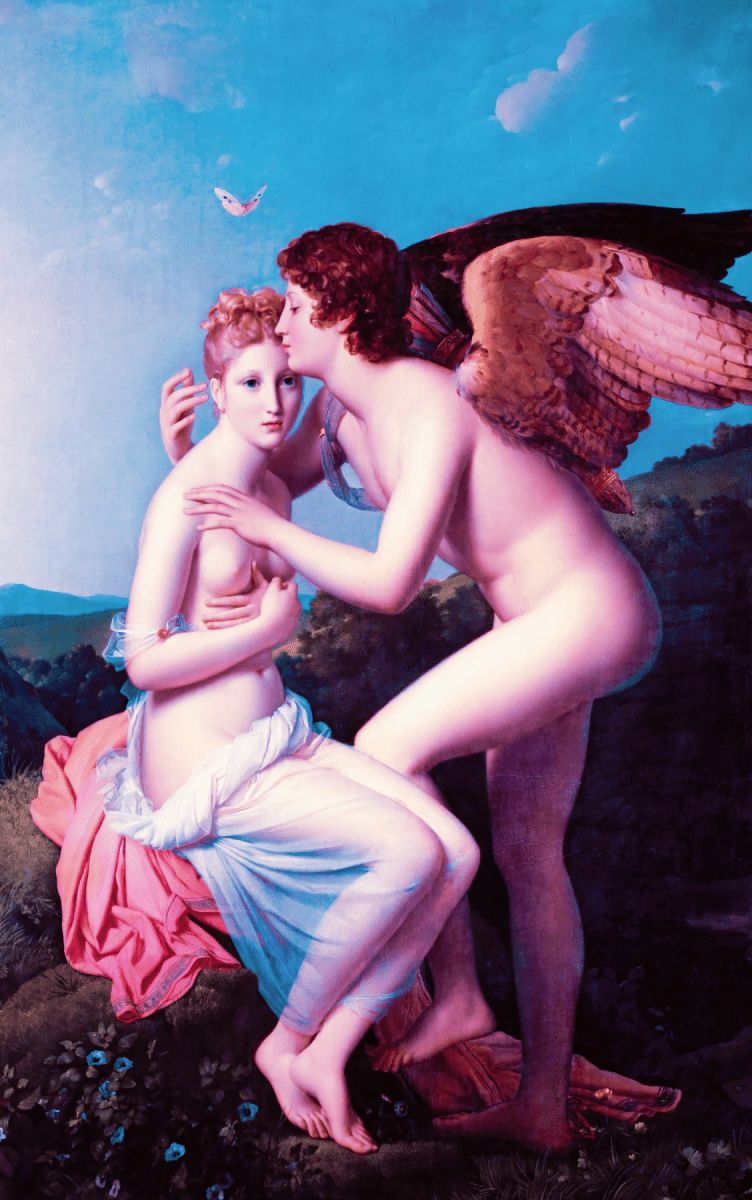 Cupid and Psyche embracing.