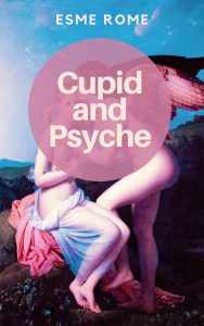 Cover of Cupid and Psyche, showing Cupid, a handsome young man with red wings, kissing Psyche, a beautiful blonde girl. Both are nude.