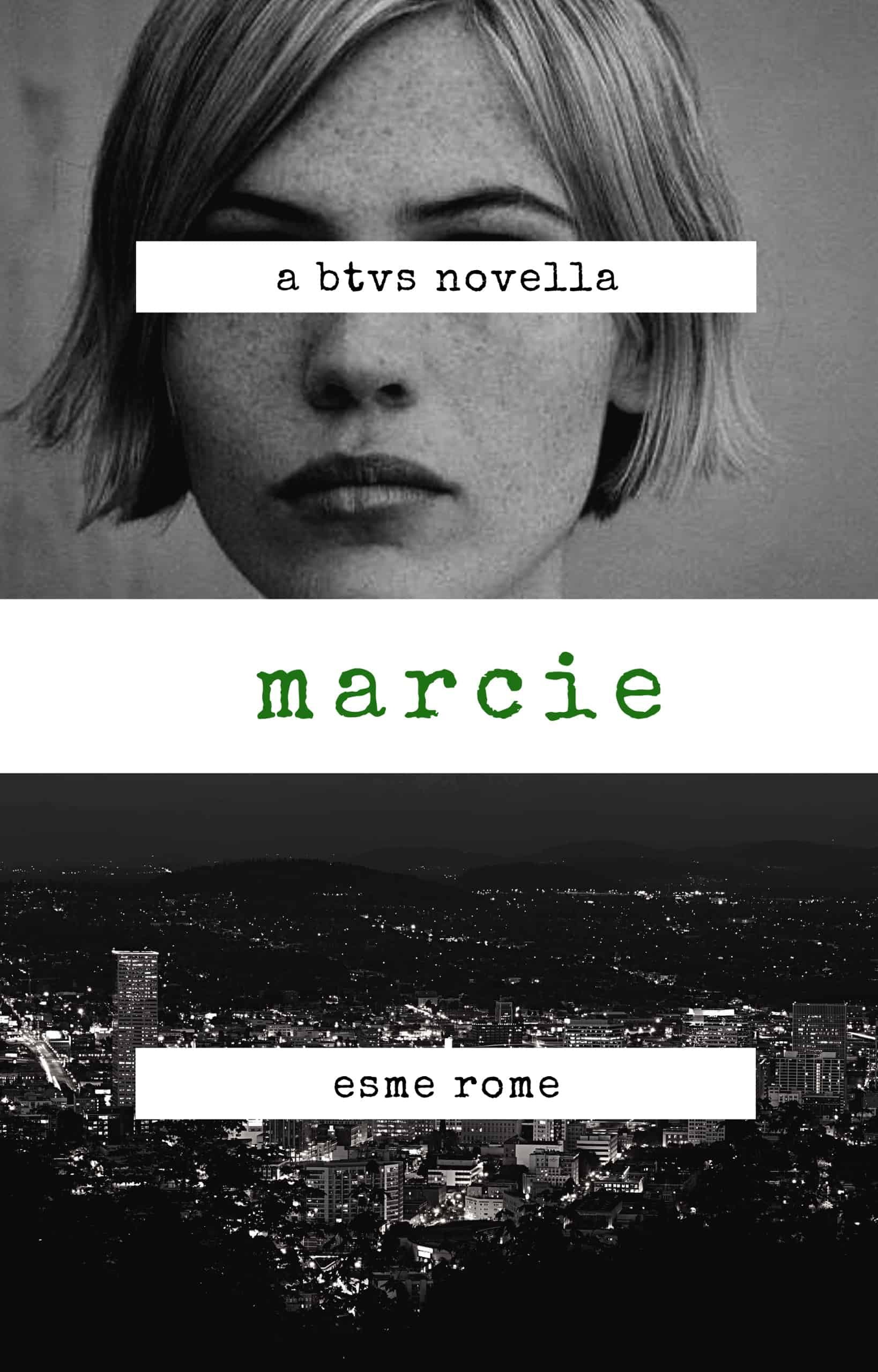 The cover for Marcie by Esme Rome, showing Clea DuVall and a city at night.