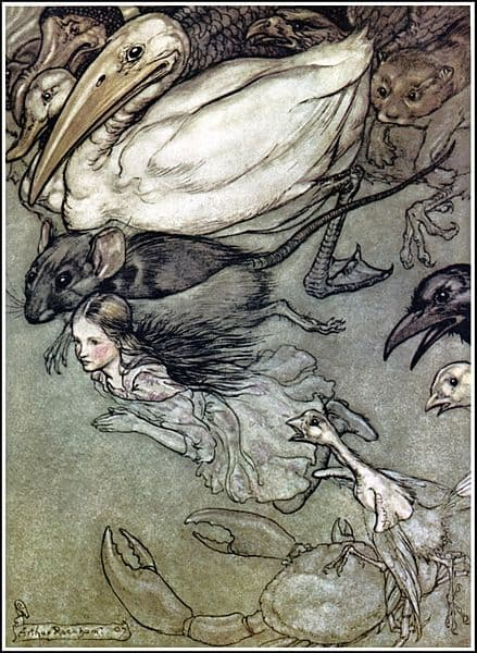 A blonde girl about eight swims with a pelican, a raven, a mouse, a weasel, and a crab.