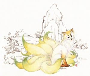 An illustration of a yellow nine-tailed fox with green fur at the tips of its tails. Background is black and white outline illustration, showing a rock and some wood.