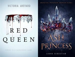 A side-by-side comparison of the covers of Red Queen and Ash Princess. Red Queen shows an upside-down crown dripping with blood on a white-blue background. Ash Princess shows a crown made of ashes and embers on a dark black background.