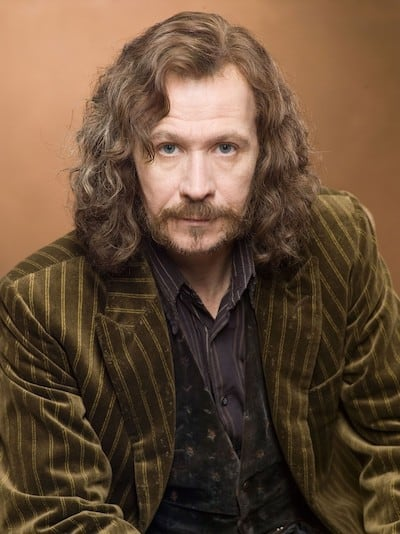 A picture of Gary Oldman as Sirius Black, with long unkempt brown hair, a goatee, an olive green jacket with stripes, and a striped purple shirt.