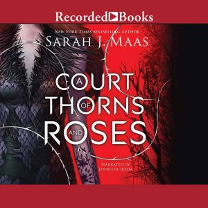 The audiobook cover of A Court of Thorns and Roses. This square image showing the torso of a white woman with brown hair in a black dress covered in fur and scales. Behind her is a red background with black outlined trees.