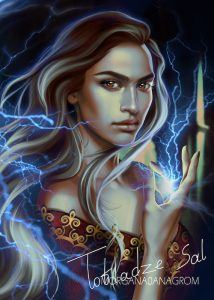 An illustration of a young woman, gazing intently at the viewer, with lightning erupting from her palm and crackling in the air around her.