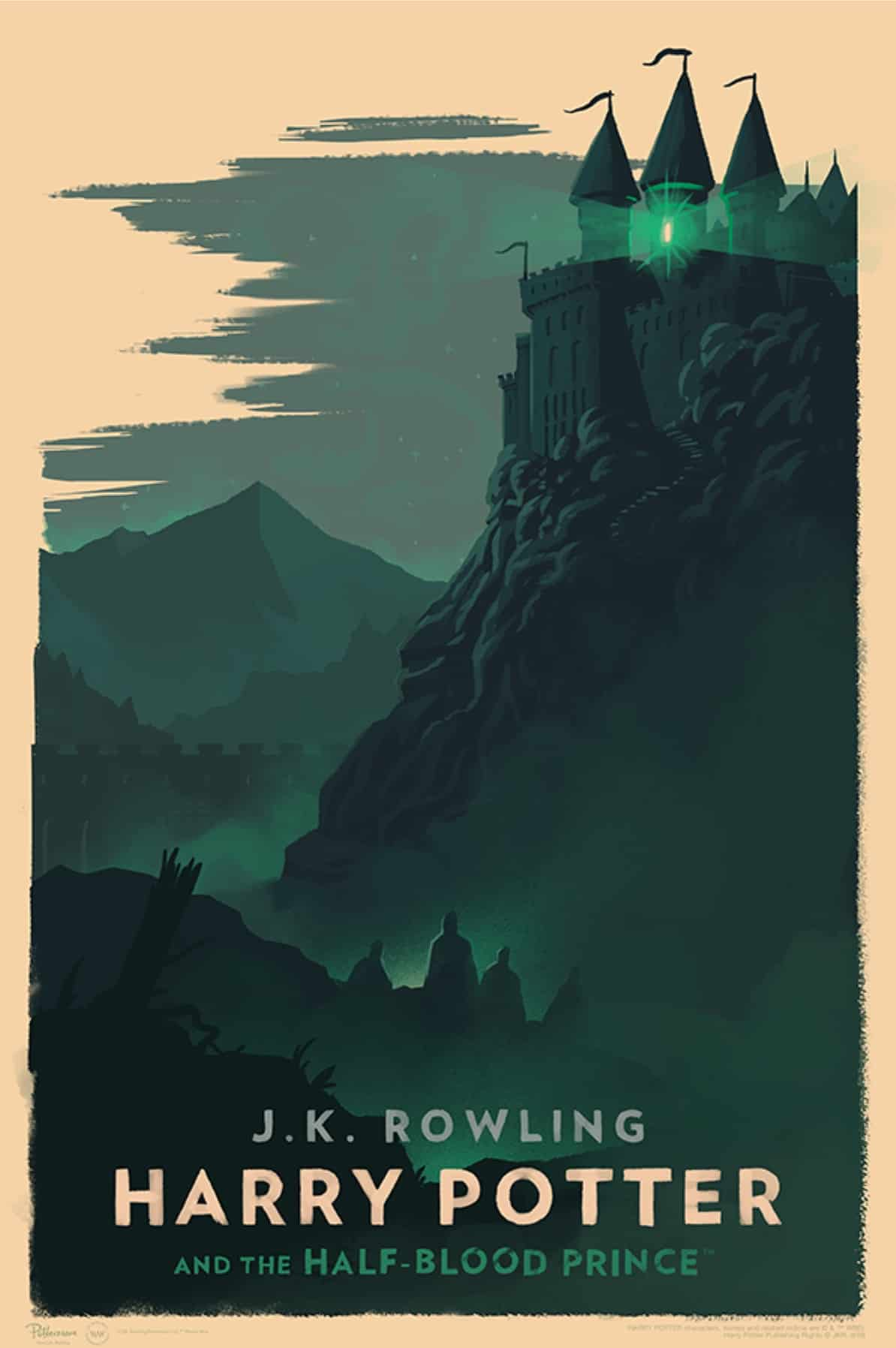 A portrait of Hogwarts castle, high on a hill, in green. A green light comes from a high window in the tower.