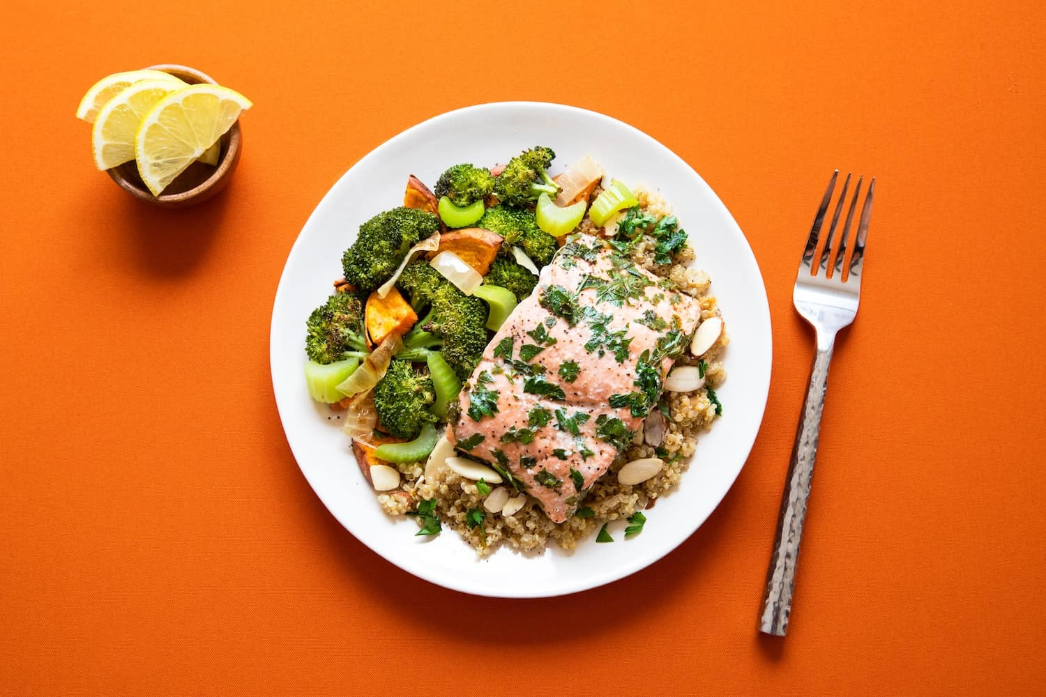 A photo of salmon and salad on a white plate; a lemon slice sits on a dish nearby. There's also a fork. Table beneath is vivid orange.