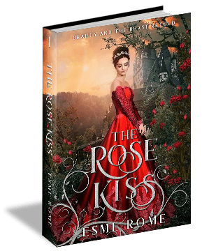 A 3D cover of The Rose Kiss by Esme Rome, showing a girl in a red dress looking down.