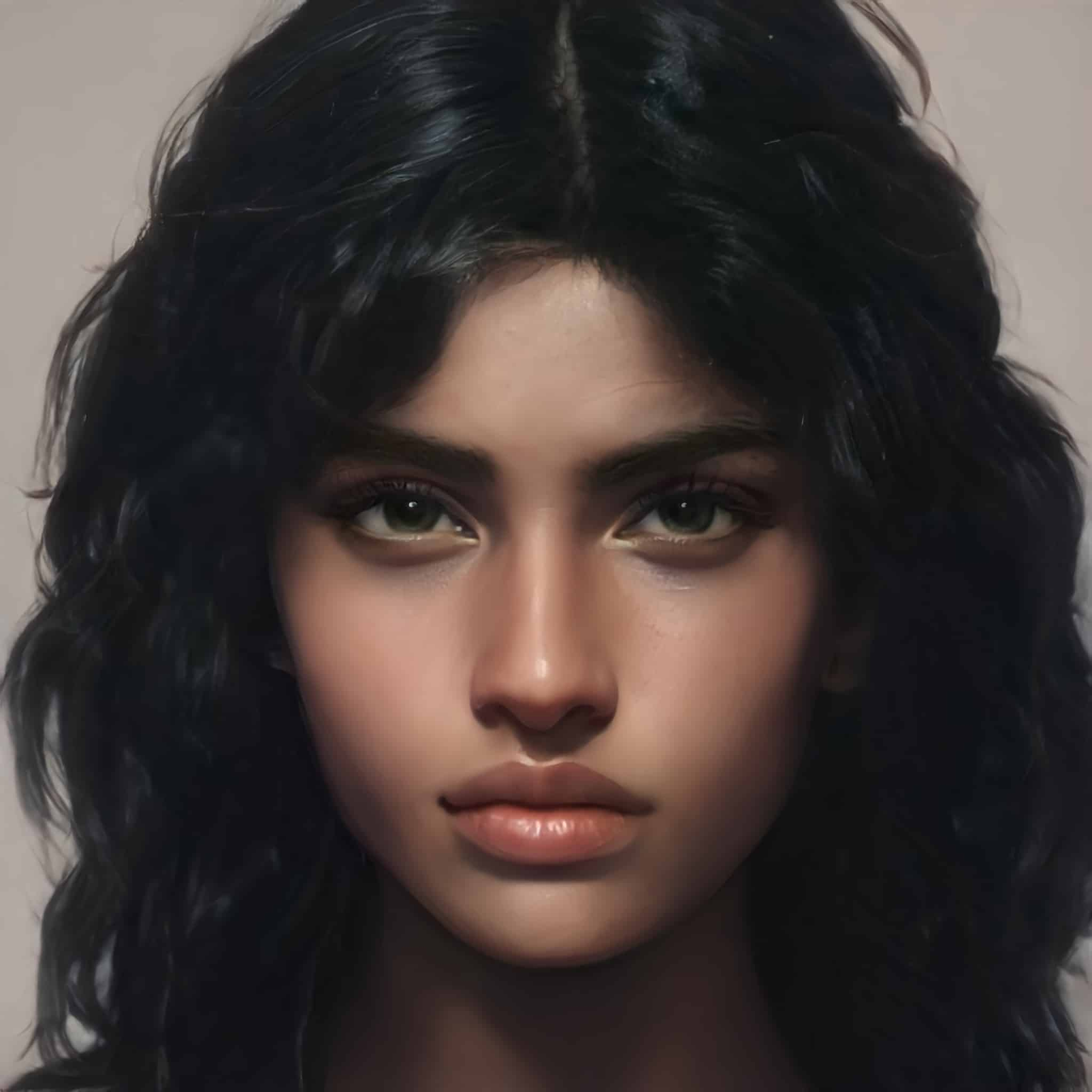 An image of a young woman with brown skin, black eyes, and black hair. She stares at the viewer with an unflinching expression.